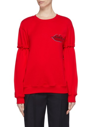 Main View - Click To Enlarge - MINKI - 'Moi' slogan lips chenille patch ruched sleeve sweatshirt