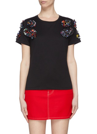 Main View - Click To Enlarge - MINKI - Abstract floral appliqué T-shirt
