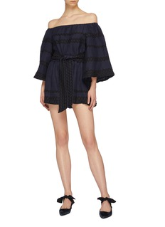C/MEO COLLECTIVE 'Incise' ric-rac stripe linen off-shoulder rompers