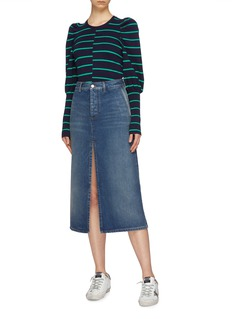 C/Meo Collective  'Underline' blouson sleeve asymmetric stripe mix knit sweater
