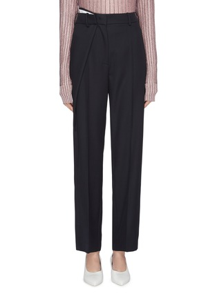 Main View - Click To Enlarge - Cédric Charlier - Asymmetric pleated virgin wool suiting pants