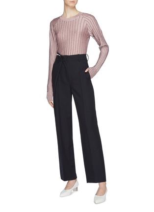 Figure View - Click To Enlarge - Cédric Charlier - Asymmetric pleated virgin wool suiting pants