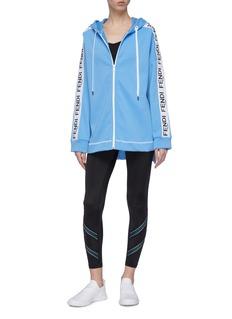 Fendi Sport Logo print stripe zip hoodie