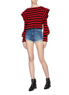 Philosophy di Lorenzo Serafini Logo patch contrast topstitching roll cuff denim shorts