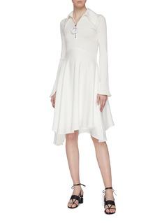 ELLERY 'Triple One' half-zip knit panel drape dress