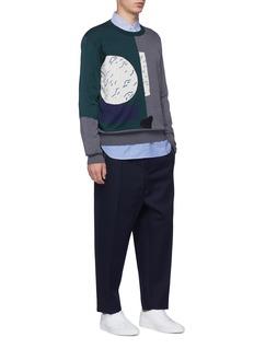 Anna Beam Colourblock abstract geometric intarsia sweater