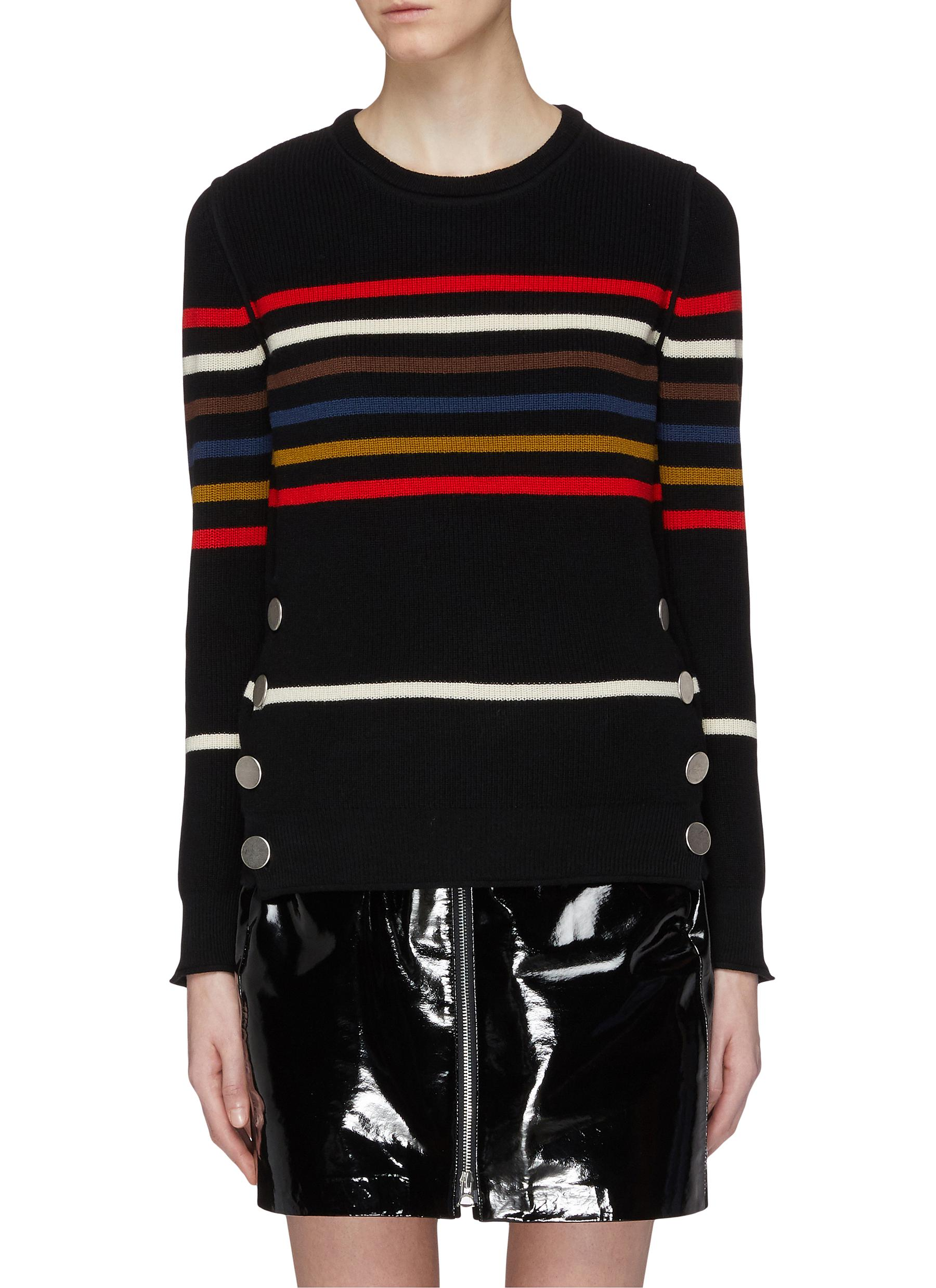 eaa3a73ee9 Main View - Click To Enlarge - SONIA RYKIEL - Mock button hem stripe sweater