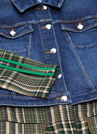 - Sonia Rykiel - Denim panel tartan plaid wool coat