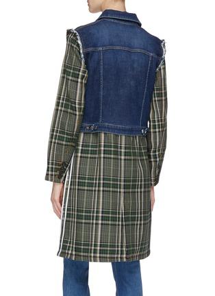 Back View - Click To Enlarge - Sonia Rykiel - Denim panel tartan plaid wool coat