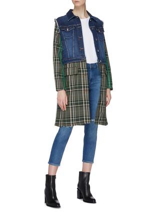 Figure View - Click To Enlarge - Sonia Rykiel - Denim panel tartan plaid wool coat