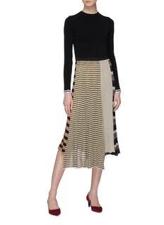 Sonia Rykiel Asymmetric stripe patchwork pleated knit skirt