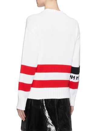 Back View - Click To Enlarge - MSGM - Logo graphic jacquard sweater
