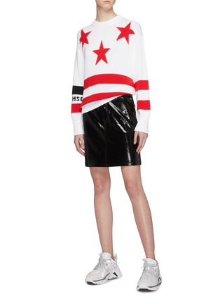 Figure View - Click To Enlarge - MSGM - Logo graphic jacquard sweater