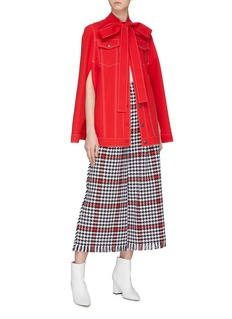 MSGM Contrast topstitching pussybow poncho