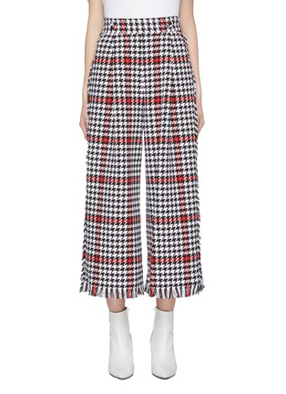 Main View - Click To Enlarge - MSGM - Fringe border houndstooth check plaid wide leg pants