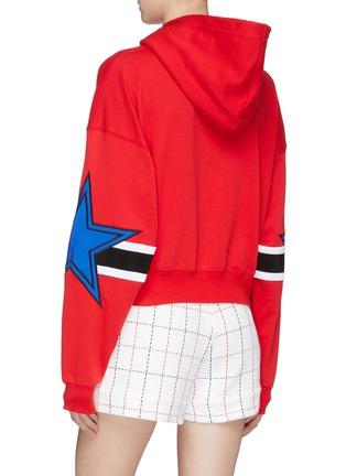 Back View - Click To Enlarge - MSGM - Logo print star stripe sleeve hoodie