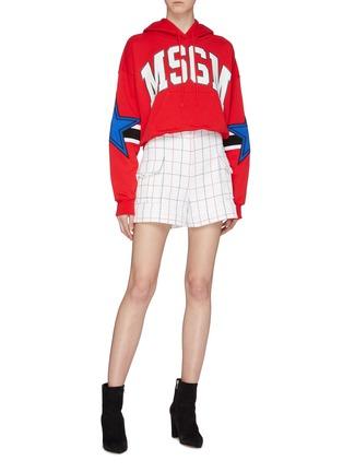 Figure View - Click To Enlarge - MSGM - Logo print star stripe sleeve hoodie