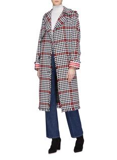 MSGM Fringe border houndstooth check plaid coat