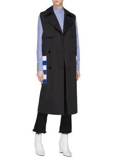 MSGM Belted stripe pocket long gilet