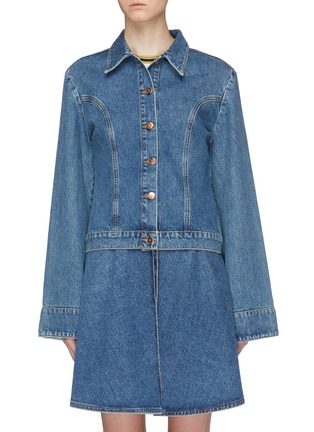 Main View - Click To Enlarge - AALTO - Bell sleeve denim jacket
