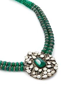 Aishwarya Diamond emerald silver gold alloy pendant necklace