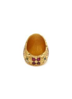 Aishwarya Diamond ruby emerald silver gold alloy floral ring