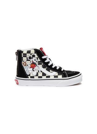 49fd376ae9 Vans x Disney  Sk8-Hi Zip  Mickey Mouse appliqué checkerboard kids sneakers