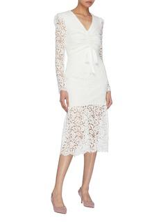 Rebecca Vallance 'Le Saint' ruched tie front guipure lace mermaid dress