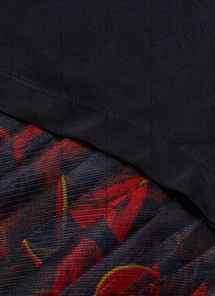 - Anna Beam - Asymmetric drape graphic print mesh hem dress