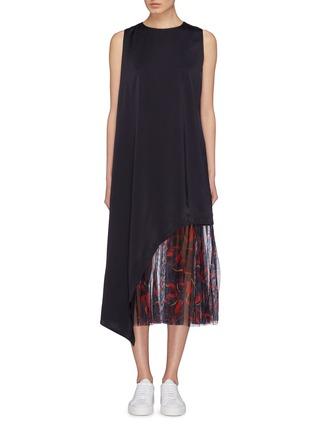 Main View - Click To Enlarge - Anna Beam - Asymmetric drape graphic print mesh hem dress