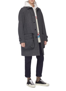 kolor x PORTER detachable pouch wool melton coat