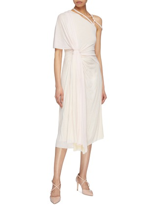 Figure View - Click To Enlarge - ESTEBAN CORTAZAR - Gathered drape strappy shoulder jersey dress