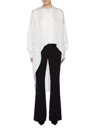 Main View - Click To Enlarge - ESTEBAN CORTAZAR - Wrinkled satin high-low tunic shirt