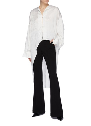 Figure View - Click To Enlarge - ESTEBAN CORTAZAR - Wrinkled satin high-low tunic shirt