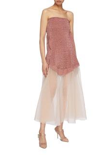 Esteban Cortazar Mesh hem metallic knit strapless dress