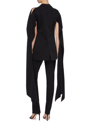 Back View - Click To Enlarge - ESTEBAN CORTAZAR - Sleeve drape cold shoulder tuxedo blazer