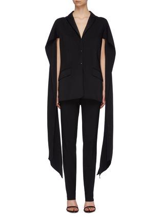 Main View - Click To Enlarge - ESTEBAN CORTAZAR - Sleeve drape cold shoulder tuxedo blazer