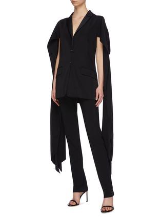 Figure View - Click To Enlarge - ESTEBAN CORTAZAR - Sleeve drape cold shoulder tuxedo blazer
