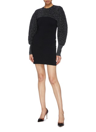 Figure View - Click To Enlarge - ESTEBAN CORTAZAR - Metallic puff sleeve cutout back mini dress