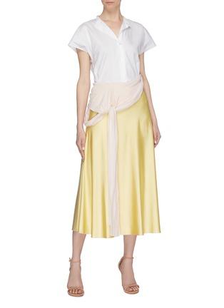 Figure View - Click To Enlarge - ESTEBAN CORTAZAR - Knot drape panel satin skirt