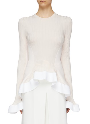 Main View - Click To Enlarge - ESTEBAN CORTAZAR - Contrast panel ruffle cuff rib knit peplum top