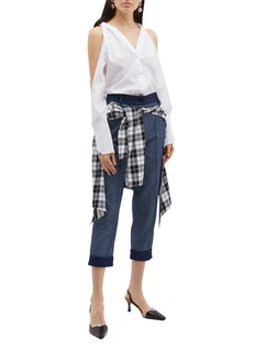 Hellessy 'Sentry' check plaid waist panel cropped jeans