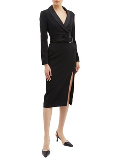 Jonathan Simkhai Ring belted split hem crepe mock wrap dress