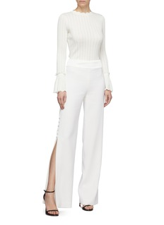 Jonathan Simkhai Bell cuff scalloped perforated rib knit sweater