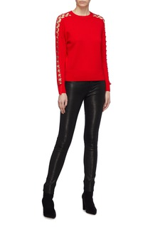 Jonathan Simkhai Metal ring cutout sleeve wool sweater