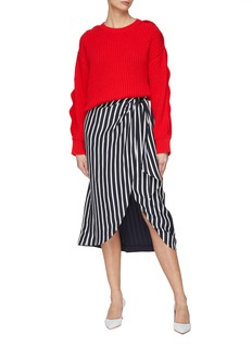 Jonathan Simkhai Ring knot stripe ruched drape skirt