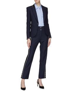 Jonathan Simkhai Snap button cuff stripe outseam pants
