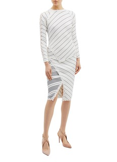 Jonathan Simkhai Asymmetric stripe scalloped rib knit mock wrap skirt
