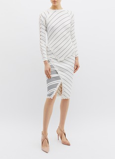 Jonathan Simkhai Cutout sleeve asymmetric stripe scalloped rib knit sweater