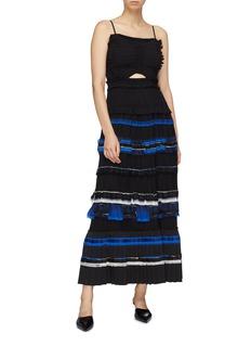 3.1 Phillip Lim Cutout plissé pleated tiered crepe dress